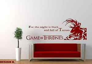 Image is loading GAME-OF-THRONES-QUOTES-CUSTOM-vinyl-wall-art- & GAME OF THRONES QUOTES CUSTOM vinyl wall art/decal/sticker/poster | eBay