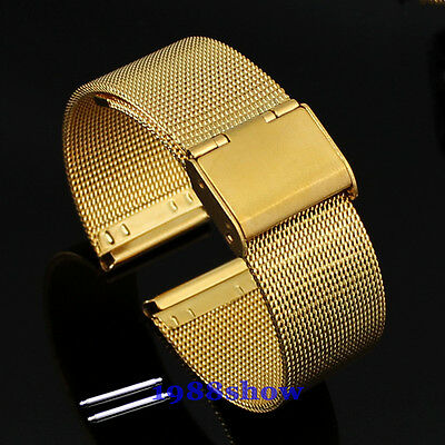 New 18~24 mm Stainless Steel Watch Mesh Bracelets Strap Perfect Handicraft Band