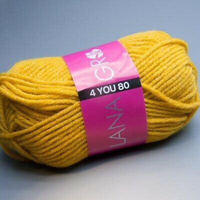 3.90 EUR pro 100 g Lana Grossa 4 YOU 80-811 schwefel 50g Wolle