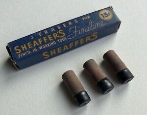 Vintage-Sheaffer-Fineline-Mechanical-Pencil-Erasers-NOS-3-Per-Sleeve-USA