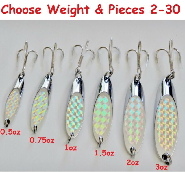 10 Pieces 2oz Casting Spoons Holographic Chrome//Silver Saltwater Fishing Lures