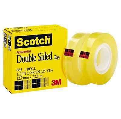3M Scotch Brand Tapes 3M 665 Permanent Double Sided Tape 1//2 inchx 25yds