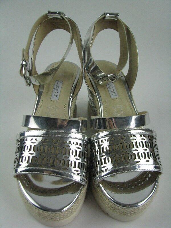 Bugatti señora v8483-6n sandalias tacón de cuña con plata