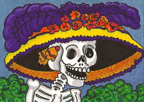 Day of the Dead 9 x 12 inch image on Zweigart Needlepoint Canvas ready to finish