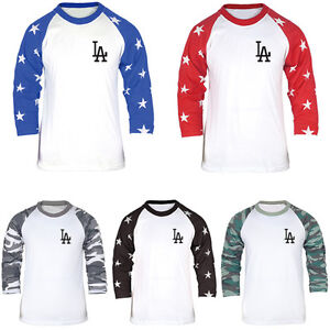 LA Los Angeles Dodgers Slim 3 4 Sleeve Raglan Star Camo Baseball T ... 20b10c6e831