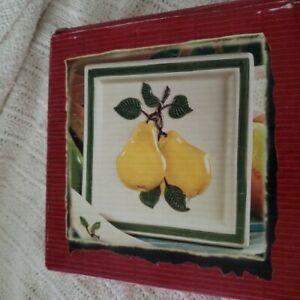 New-In-Box-Hand-Painted-Ceramic-Trivet-Tile-Pears