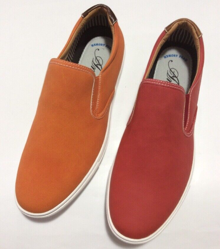 Men's Casual Driving Moccasins Amali Red and orange shoes Smooth Soft ea