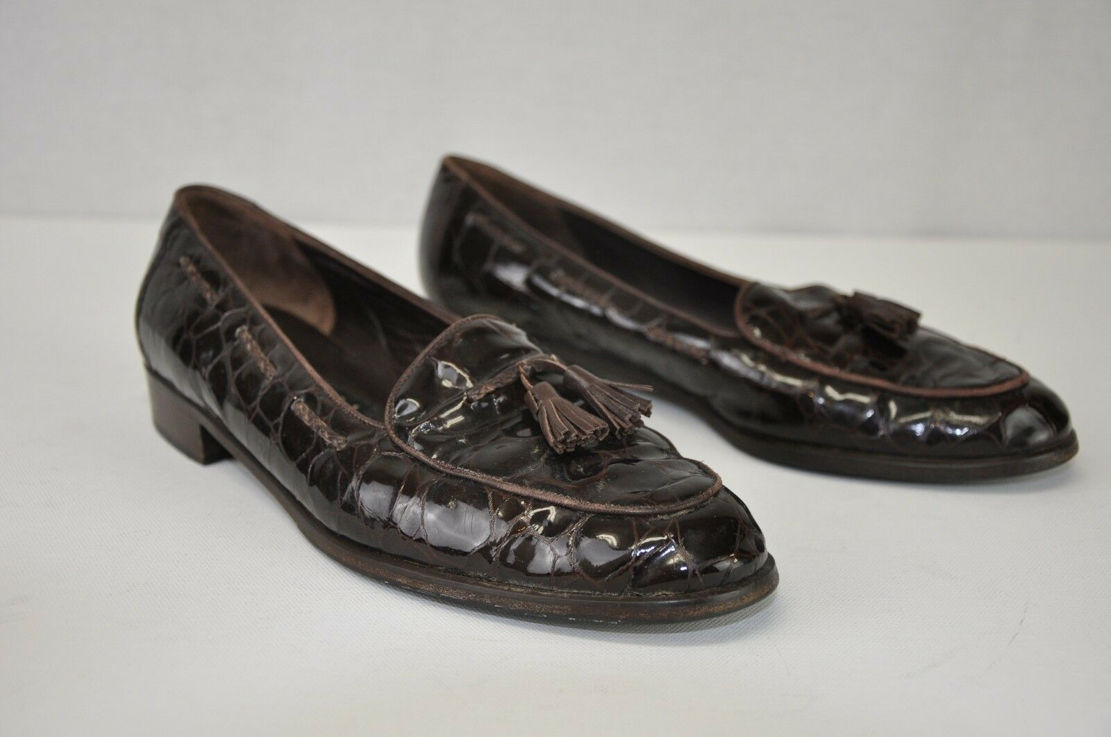 8.5B Amalfi Marronee Patent Genuine Leather Croc Print Tassel Slip On Loafer