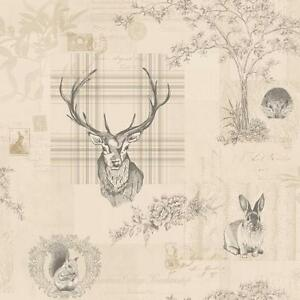 Richmond-Charcoal-Linen-Rustic-Tartan-Stag-Feature-Wallpaper-by-Holden-98012