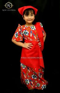 Details About Kids Filipiniana Dress Floral Patadyong Philippine National Costume Red