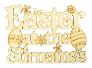 Personalised-039-Easter-at-the-039-Wooden-MDF-Sign-with-Shapes-Easter-Gift