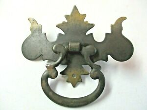 Japanned Dark Brass Chippendale Drop Bail Pull Handle Single Screw Mount Antique