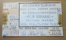 1984 OZZY MOTLEY CRUE SHOUT AT THE DEVIL TOUR LAKELAND FLA. CONCERT TICKET STUB