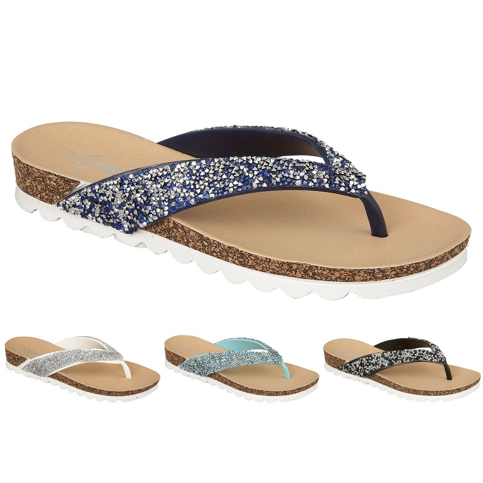 Man/Woman Ladies Diamante Contrast Jewel Encrusted Strap Cork Contrast Diamante Sole Flat Toe Post Sandals excellent quality Attractive fashion Don't worry when shopping VR170 a9af07