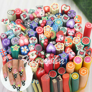 10x 3d fruit flower nail art fimo canes stick rods polymer clay image is loading 10x 3d fruit flower nail art fimo canes prinsesfo Choice Image