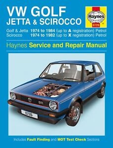 haynes owners workshop manual vw golf jetta scirocco mk 1 74 84 rh ebay com Volkswagen Golf Car 1997 VW Golf