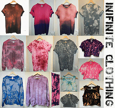 Tie dye acid wash dip dye t shirt hipster Retro vtg 80s 90s galaxy Festival top