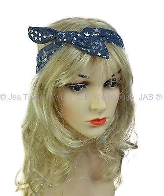 Wire Boho Hair Wrap Turban Head Band Headband Bow Scrunchie Scrunchy Denim Blue