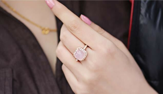 Pink Opal 18k GP Gold Plated Crystal Ring (China EMS all-the-way tracking)