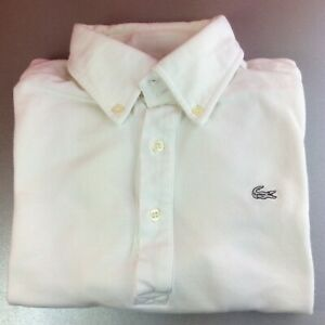 Lacoste-Extra-Small-2-blanc-solide-a-manches-courtes-Polo-Shirt-Logo-Blanc-Authentique