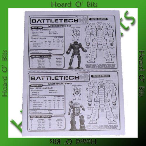 BATTLETECH INTRO SET BITS BATTLEMECH RECORD SHEETS