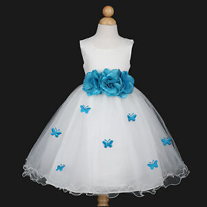 176ada2685d Image is loading Ivory-Turquoise-Blue-Bridesmaid-Wedding-Flower-Girl-Dress-
