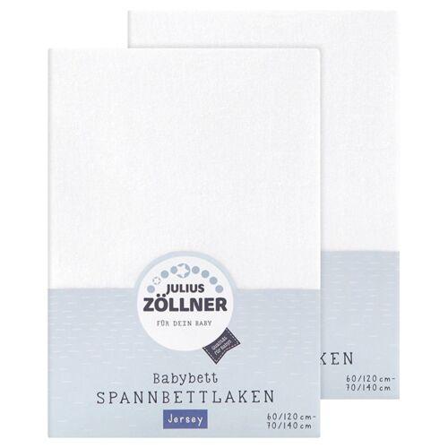 Julius Zöllner Spannbetttuch Jersey 70x140 60x120 Weiss doppelpack
