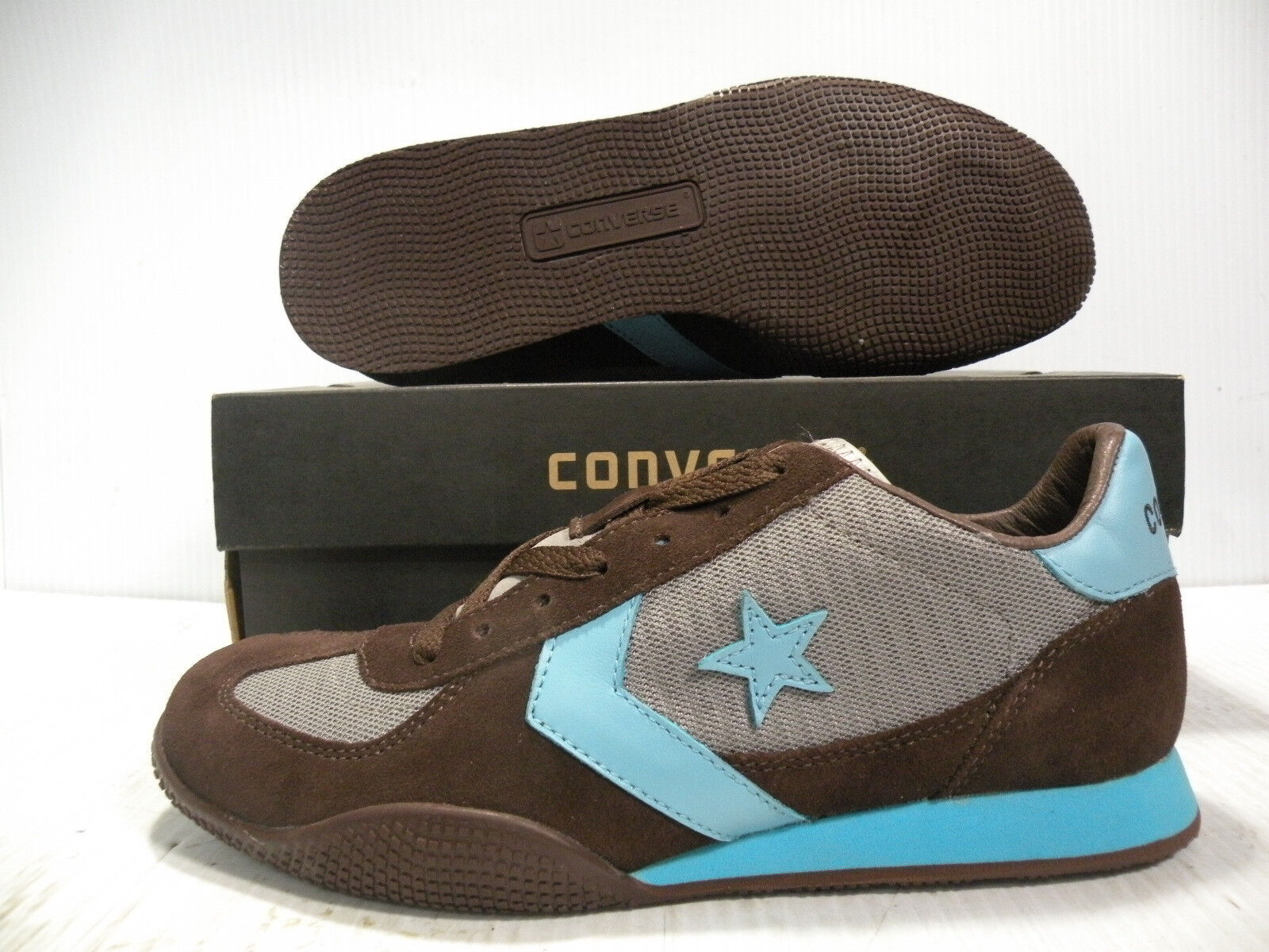 CONVERSE TARGA XLT OX VINTAGE 1984 MEN SHOES SKY blueE BROWN 1S894 SIZE 12 NEW