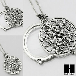 Gold silver 5x magnifying glass new snow snowflake pendant 31 image is loading gold amp silver 5x magnifying glass new snow aloadofball Gallery