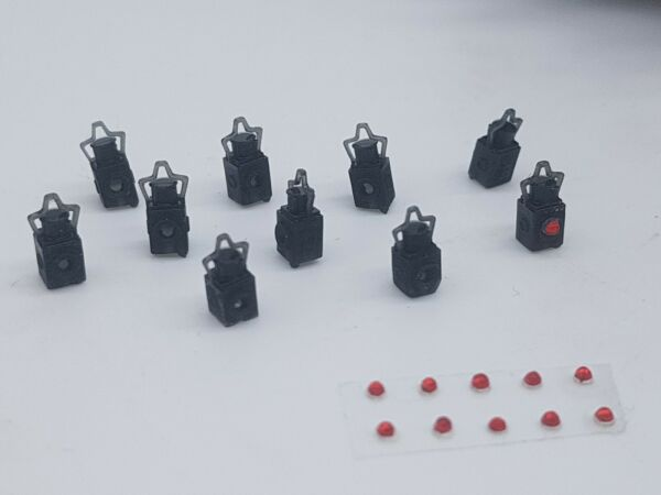 10 X O Gauge Tail Lamps Model Railway Black 002