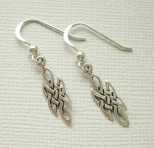 Plata-esterlina-925-Pendientes-Colgantes-de-gota-de-tejido-nudo-celta