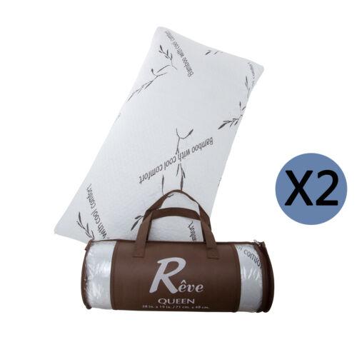 2 Pack Queen Size Memory Foam Bed Pillow Hypoallergenic Cooling Comfort w// Bag