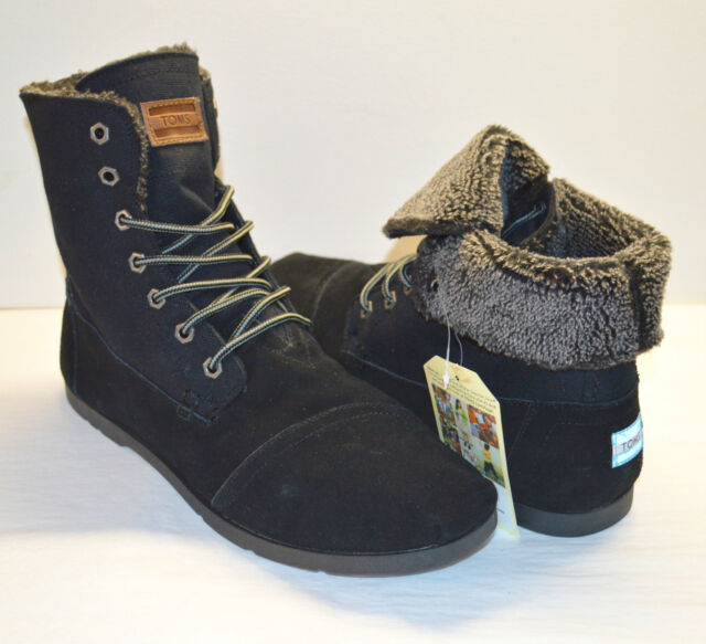 a93d57ad086 New Toms Men Utility Boots Black Canvas Suede Boot sz 14 Lace Up Ankle Mid