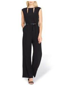 95136578776 Image is loading Tahari-cutout-Women-039-s-Black-jumpsuit-Size-