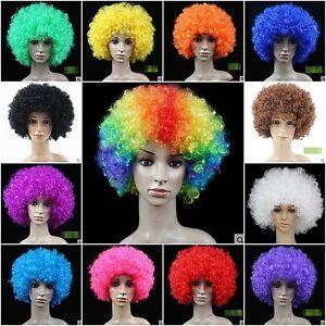 Ricci-Afro-Disco-Clown-Parrucche-Costume-Funky-Uomo-Donna-Bambini-Halloween