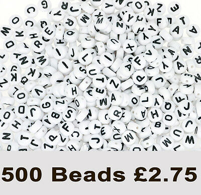 500 White Round Alphabet Beads 7 x 4mm. Mixed Letters