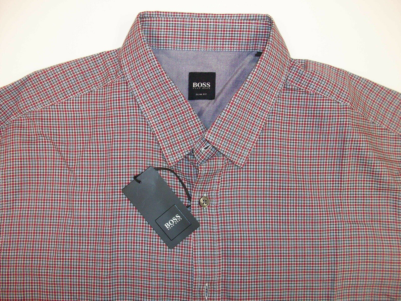 Hugo Boss LS RONNY Shirt    Slim Fit Tattersall Plaid Button Up Red bluee NWT