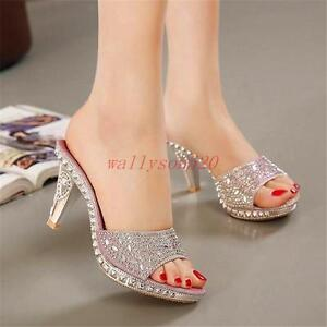 6f4ef0f8e92d Image is loading Ladies-Womens-High-Heel-Rhinestone-Sandal-Slipper-Party-