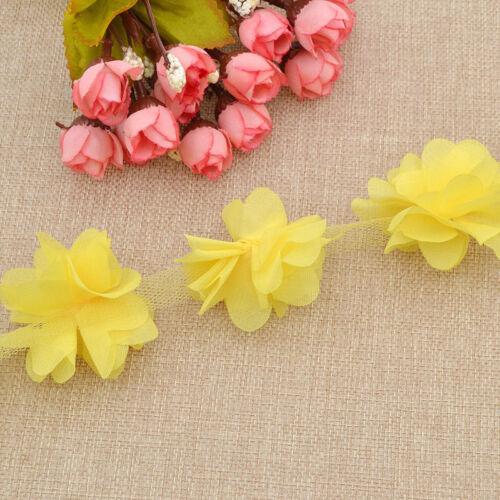 DIY Chiffon Flower Lace Trim Ribbon Applique Wedding Dress Sewing Craft Elegant