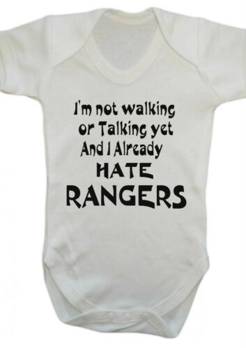 I HATE RANGERS,Bodysuit,Vest,BABY GROW SCOTTISH  FOOTBALL Celtic,motherwell