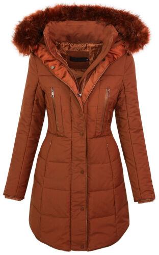 Damen winter jacke steppmantel parka langer mantel fell kragen kapuze D-209 S-XL