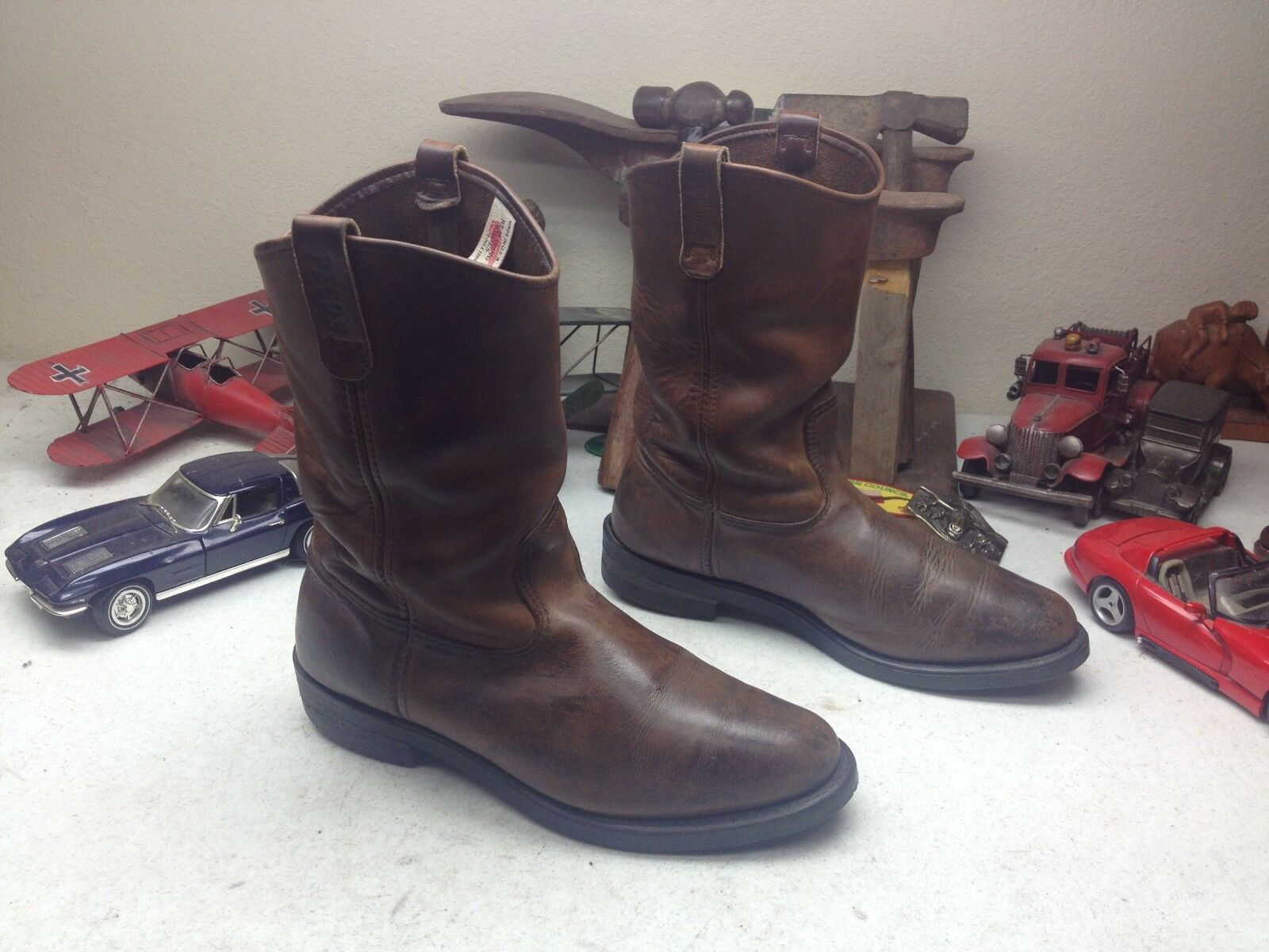 VINTAGE 2000 ROT WING USA BROWN LEATHER ENGINEER TRAIL D BOSS ROAD Stiefel 10.5 D TRAIL a2804c