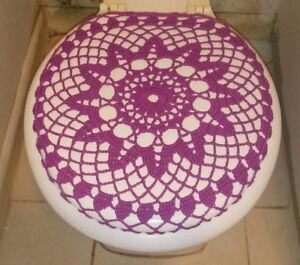 Handmade Crochet Toilet Lidseat Cover Magenta Purple Ebay