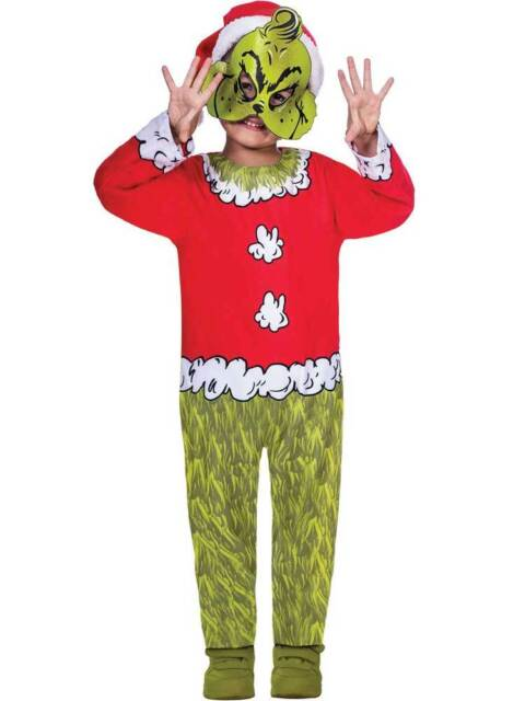 Childs Boys Girls Official The Grinch Santa Book Film Christmas Fancy Dress 4-12