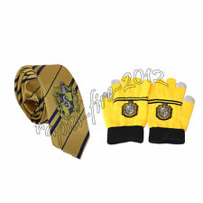 2pcs Harry Potter Hufflepuff Necktie Tie & Touch Gloves Cosplay Halloween's Gift