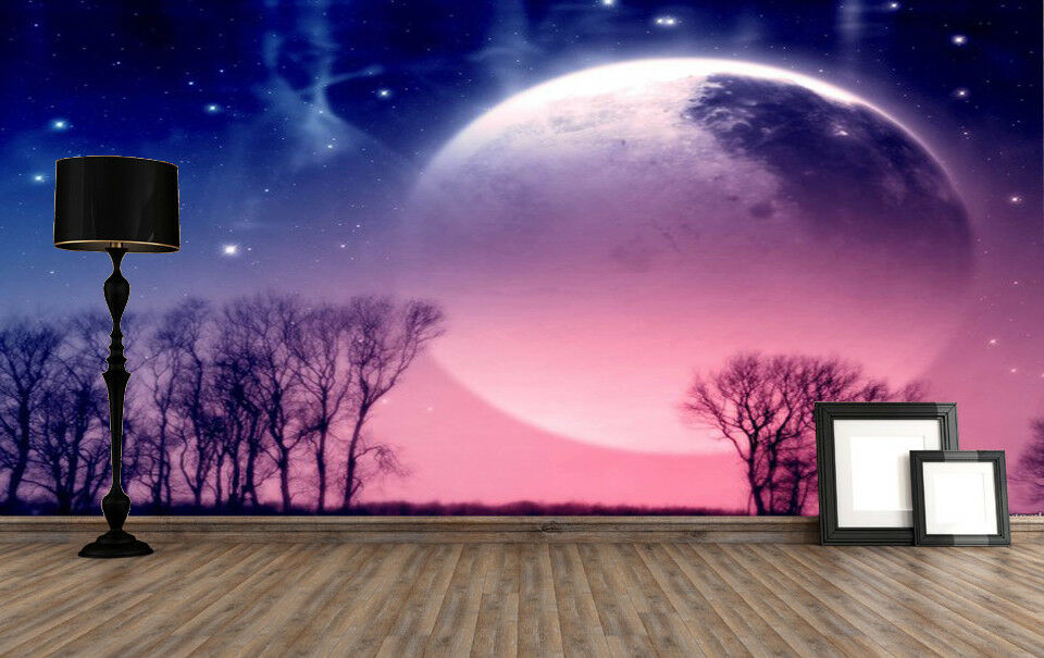 3D Mond Sterne Wald 531 Tapete Tapeten Mauer Foto Familie Tapete Wandgemälde