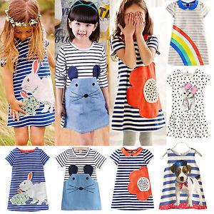Cute-Baby-Girls-Striped-Short-Sleeve-Summer-Dress-Tunic-Tank-T-Shirt-Sundress