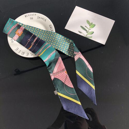 100/% Silk Small Scarf Women/'s Fashion Print Neck Hair Ribbon Tie Band 90cm Long