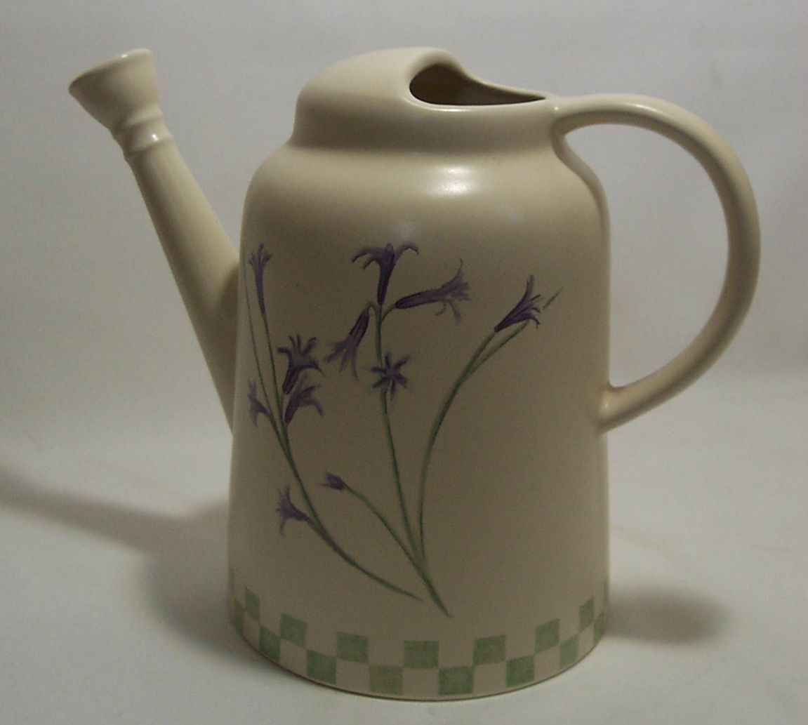 Rare Sonoma Home Goods Watering Pot Ceramic Beige with Lavender Flowers New