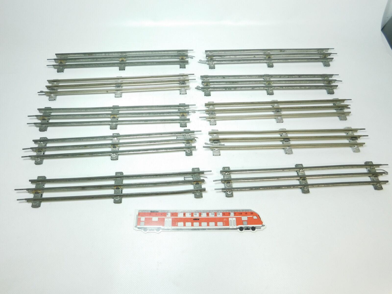 BH217-2  10x Märklin Spur 0 Gleis gerade (32 cm) für elektrischen Betrieb